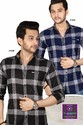 Mens Cotton Black And Blue Check Shirt