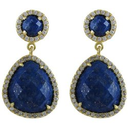Lapis Lazuli Pave Set Gemstone Earrings