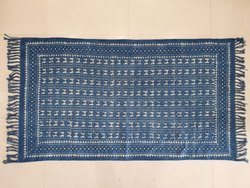 Handwoven Hand Block Printed Blue Dabu Indigo Designing Cotton Rug