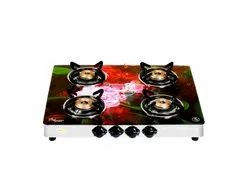 Stainless Steel Brightflame 4 Burner Digital Glass Top Gas Stove, For Home, Model Name/Number: Tulip 4bd