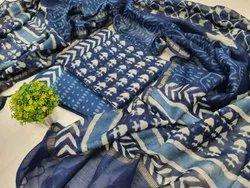 Bagru Hand Block Indigo Dabu Print Chanderi Suit Materials
