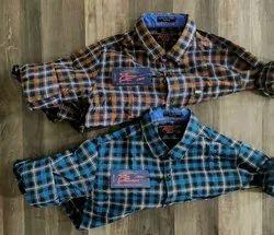 Cotton Collar Neck Mens Silm Fit Check Shirt, Machine Wash, Hand Wash