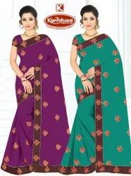 Dyed Georgette Embroidery work Saree with Lace - Flash