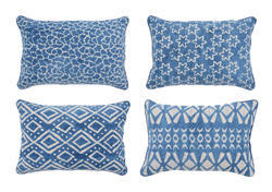 Indigo Hand Block Printed in Various Floral and Geometric Patterns Pillow, Size: 40 X 60 Cm