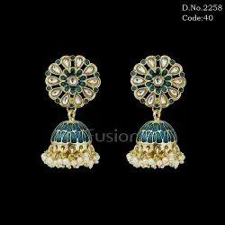 Designer Meenakari Indo Western Jhumka Earring