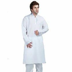 White Cotton Men's Plain Kurta
