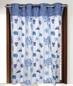 White With Blue Printed Curtains