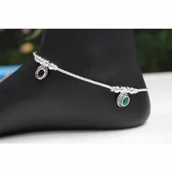 Casual Wear Ladies Silver Plated Anklets, 25-250g