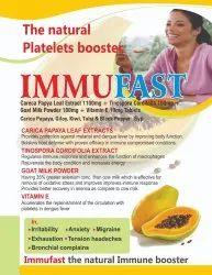 IMMUFAST Carica Papaya Tinospora Cordifolia Goat Milk Powder Vitamin E Capsule, Prescription, Packaging Size: 10x10 Tab