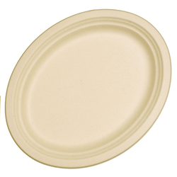 Gujarat Shopee Plain Wheat Straw Elipse Plate, For Event, Size: 263 X 199 X 20