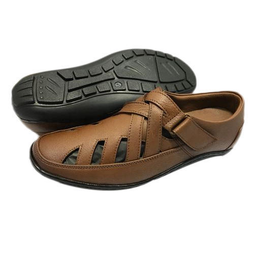 Brown Mens Office Wear Leather Sandal