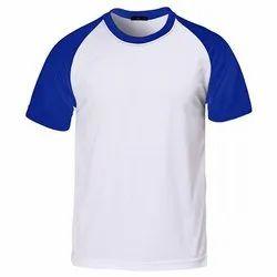 Blue, White Half Sleeve Mens Plain Round Neck T Shirt