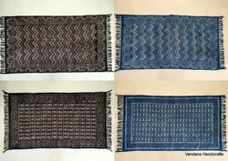 Vandana Handicraft Brown Handwoven Hand Block Printed Blue Indigo Dabu Cotton Floral Durrie Rug, Size: 3x5 Feet