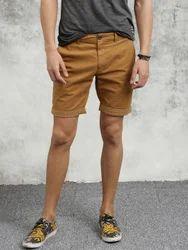 Stylish Beige Cotton Shorts