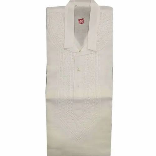Embroidered Mens White Casual Wear Chikan Kurta, Size/Dimension: 40