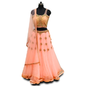 Georgette Pich Color Croptop Lehenga with Dupatta Wedding Wear