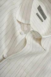 White With Sandal Stripes Short Sleeve Linen Shirt