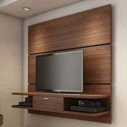 Brown Wall Mounted Wooden TV Unit