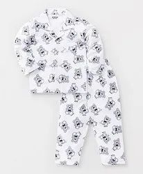 White,Off White Cotton Hosiery Printed Kids Night Suits