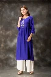 New Collection Design Ink Blue Color Embroidered  Rayon Kurtis