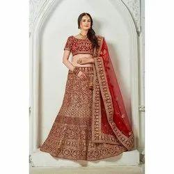 Red Hand Work Embroidery Bridal Lehenga