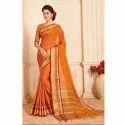 Orange Party Wear Ladies Self Design Half Silk Saree, 6.3 M (with Blouse Piece)