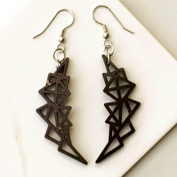 Dark Brown Abstract Geometric Earrings
