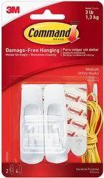 Command Medium Plastic Utility Hook (White,2 hooks and  4 strips)
