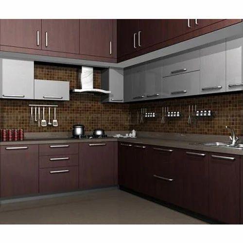 Designer L Shaped Modular Kitchen At Rs 2500 Square Feet: Plywood Modular Kitchen, Modular Wooden Kitchen, लकड़ी की