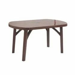 Brown Plastic Oval Table