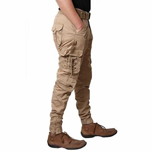 5d3b37b0a Cream Plain Zacharias Boys Cotton Solid Relaxed Fit Zipper Cargo Jogger Pant
