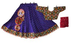Dark Purple Bandhej Cotton Kutch Traditional Chaniya Choli - Ras Garba Costume