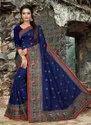 Kesari Exports Navy Blue Festival Wear Silk Sarees