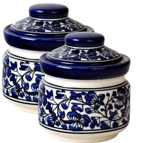 Hand Cart 2 Large Blue Pottery Kitchen Jars Containers