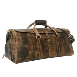 Hunter Brown Leather Weekender Bag With Shoes Compartment For Mens and Womens