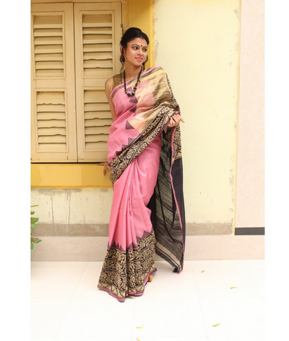 b32684dcae Beautiful Saree Pink And Cream South Indian Silk Designer Saree P71 ...