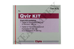 Qvir KIT ( Atazanavir (300 mg),Ritonavir (100 mg),Tenofovir Disoproxil Fumarate IP(300 Mg)