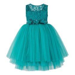 Green Multi Layered Tutu Girls Party Dress