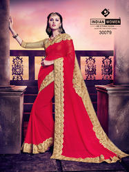 Indian Women Red Georgette Sari