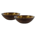 Wooden Bowl Set with Gold Foil, Enamel