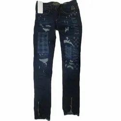 Narrow Fit Denim Ripped Jeans, Waist Size: 28 - 34