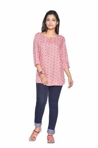 9373e2982d7d1 Rayon 3 4th Sleeve Printed Tie-Up Kurti