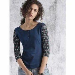Ladies Cotton Navy Blue Round Neck T-Shirt