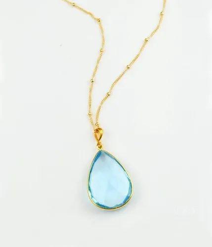 Sky Blue Topaz Bezel Set Gemstone Necklace
