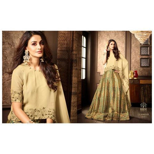 e20cbac3632 Ladies Chanderi Printed Fashionable Dress