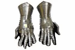 Greek Steel Armour Designer Arm Gloves with Leather