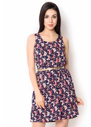 UR-497 Blue With Butterfly Print Party Wear Dress
