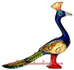 Metal Meenakari Walking Peacock Statue Enamel Work