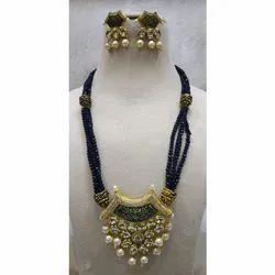 Golden Ladies Fashion Party Wear Necklace Set, Packaging Type: Box