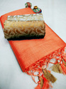 Designer Tussar Silk Saree With Double Blouse